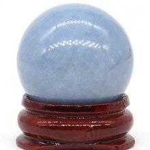 Natural Blue Angelite Ball Mineral Quartz Sphere Hand Massage Crystal Healing Feng Shui Home Decor Accessory 29mm