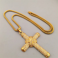 24K Gold Plated Rhinestone Iced Out Knot Charm Jesus Cross Big Pendant Bling Bling Necklaces Men