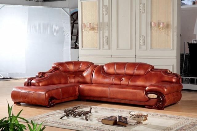 European leather sofa set living room sofa made in China L shape ...