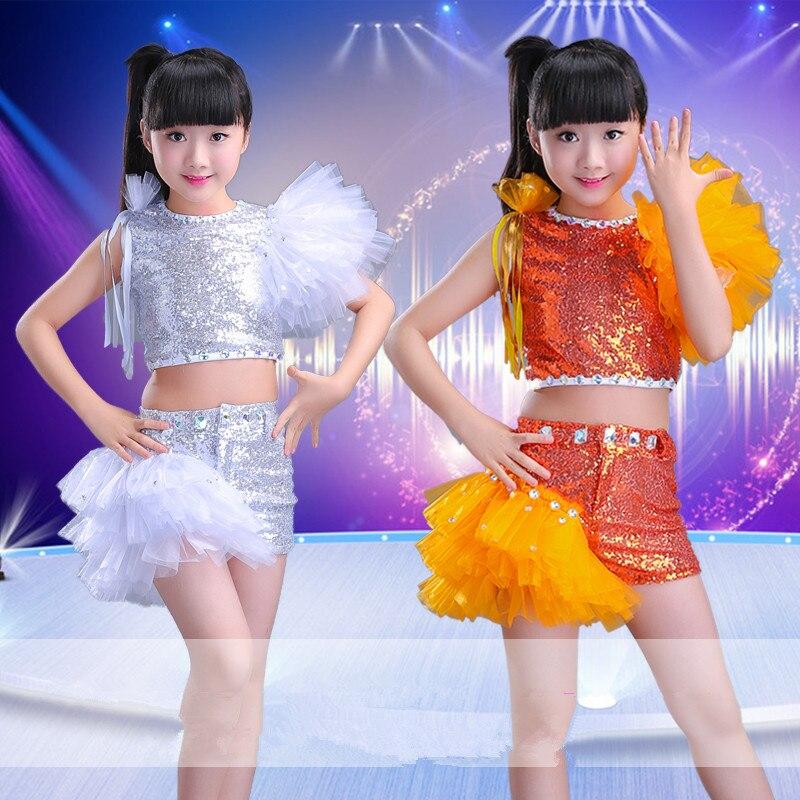 White Sequin Jazz Dance Costumes For Girls Hip Hop Kids Modern Dance Dress For Girls Dance Clothes Dancewear