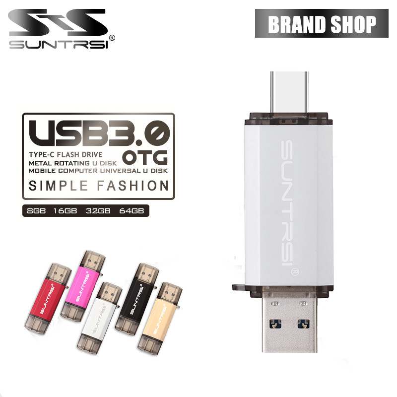 Suntrsi TYPE-C USB Flash Drive OTG USB 3.0 Pendrive High Speed 64GB Pen Drive Metal USB Flash 16GB Usb Stick for Smart Phones banq c61 usb flash drive 32gb otg metal usb 3 0 pen drive key 64gb type c high speed pendrive mini flash drive memory stick 16gb