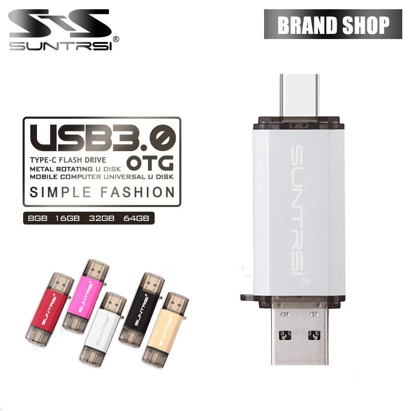 Suntrsi TYPE-C USB Flash Drive OTG USB 3.0 Pendrive High Speed 64GB  Pen Drive Metal USB Flash 16GB Usb Stick For Smart Phones