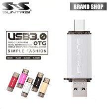 Suntrsi TYPE-C USB Flash Drive OTG USB 3.0 Флешки Высокая Скорость 64 ГБ Pen Drive USB Металла Flash 16 ГБ Usb Stick для Смарт-телефоны