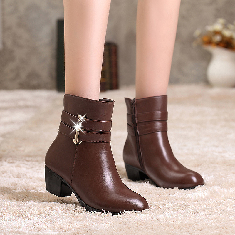 2018 Women Winter Shoes Women Genuine Leather Natural Wool Boots Brand Women Shoes High Quality Mid Calf Boots With Platform