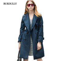 BURDULLY 2017 Ladies Elegant Europe And America Style Fashion Trench Coat Winter Casual Slim Double Breasted
