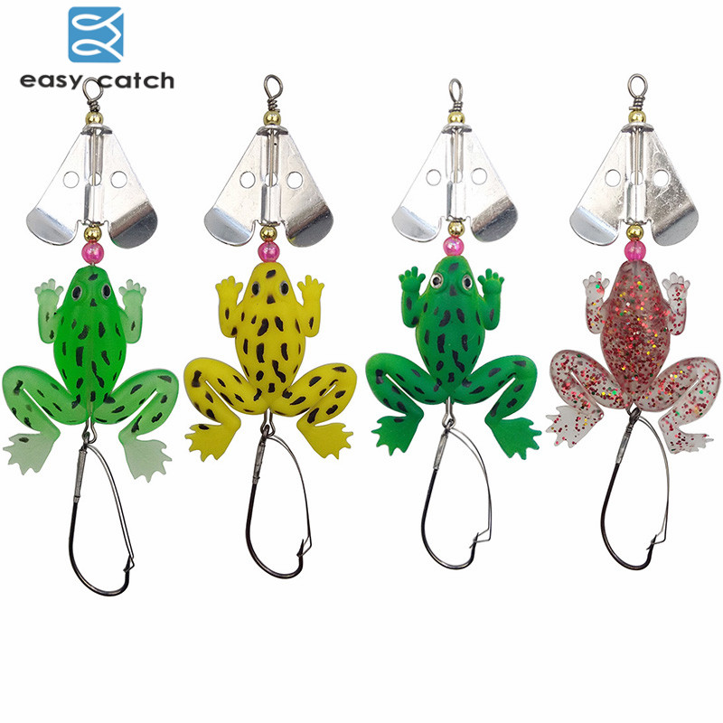 Easy Catch 4pcs Rubber Soft Frog Fishing Lures Mixed Color Floating Frog Fishing Spinnerbait With Spinner Blades Weight 7g рыболовный комплект atemi polo combo easy catch 5 м