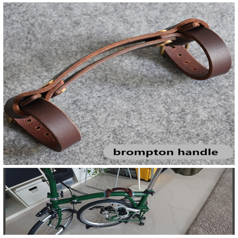 2-color folding bike leather handle for brompton carry ith frame tape filter portable handle folding bike use frame within 5cm brompton stickers