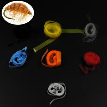1 metro Scud Back película delgada de goma superelástico para el respaldo de la mosca del peón del camarón de Nymph Material de atado de la ninfa checa amarillo, naranja claro
