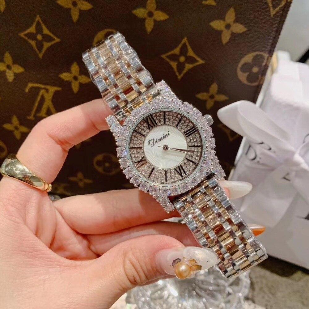 2 tailles classique numéro romain femmes affaires montres de luxe strass Bracelet montre Quartz Shell visage analogique diamant montre-Bracelet 4