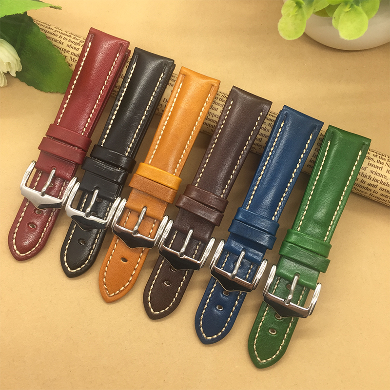 High Quality Genuine Leather Watchband 18mm 20mm 21mm 22mm For Mens Women Black/Blue/Red/Brown/ Watch Strap