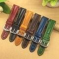 Hohe Qualität Aus Echtem Leder Armband 18mm 20mm 21mm 22mm Für Herren Frauen Schwarz/Blau/ rot/Braun/Armband-in Uhrenbänder aus Uhren bei