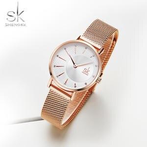 Женские кварцевые часы Shengke, сетчатый ремешок из нержавеющей стали, повседневные наручные часы с японским механизмом Bayan Kol Saati Reloj Mujer, 2019