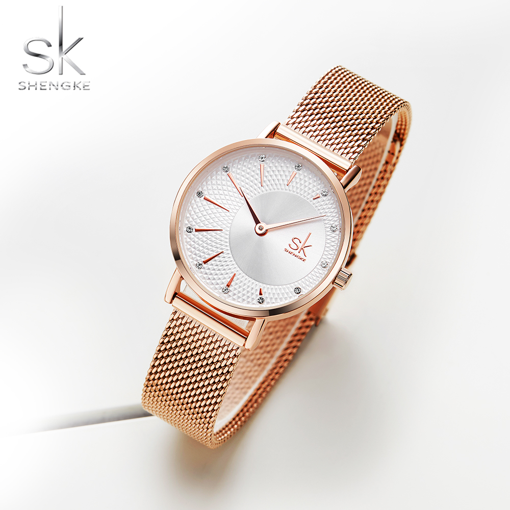 Shengke Quartz Watch Women Mesh Stainless Steel Watchband Casual Wristwatch Japan Movement Bayan Kol Saati Reloj Mujer 2019