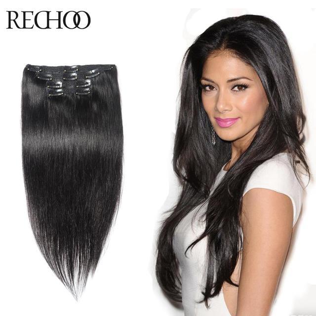 16-26 7 8 10 Unidades Disponible Lote Clip de Remy En Extensiones de cabello Cabeza Llena de Color 1 Negro Natural Extensiones de Cabello Clips en