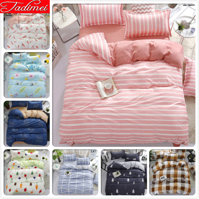 Pink Stripe Duvet Cover 3/4 Pcs Bedding Sets Adult Kids Child Girl Soft Cotton Bed Linens Single Full Queen King Size Bedspreads