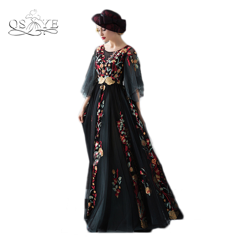 2017 New Fashion Floral Flowers Pattern Arabic Formal Evening Dresses Robe de Soiree Half Sleeve Lace Formal Long Prom Dresses