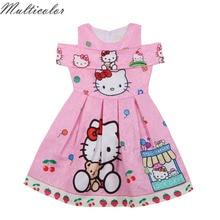 Разноцветное платье для девочек; летняя детская одежда; платье принцессы без рукавов с рисунком «hello kitty»; Одежда для девочек