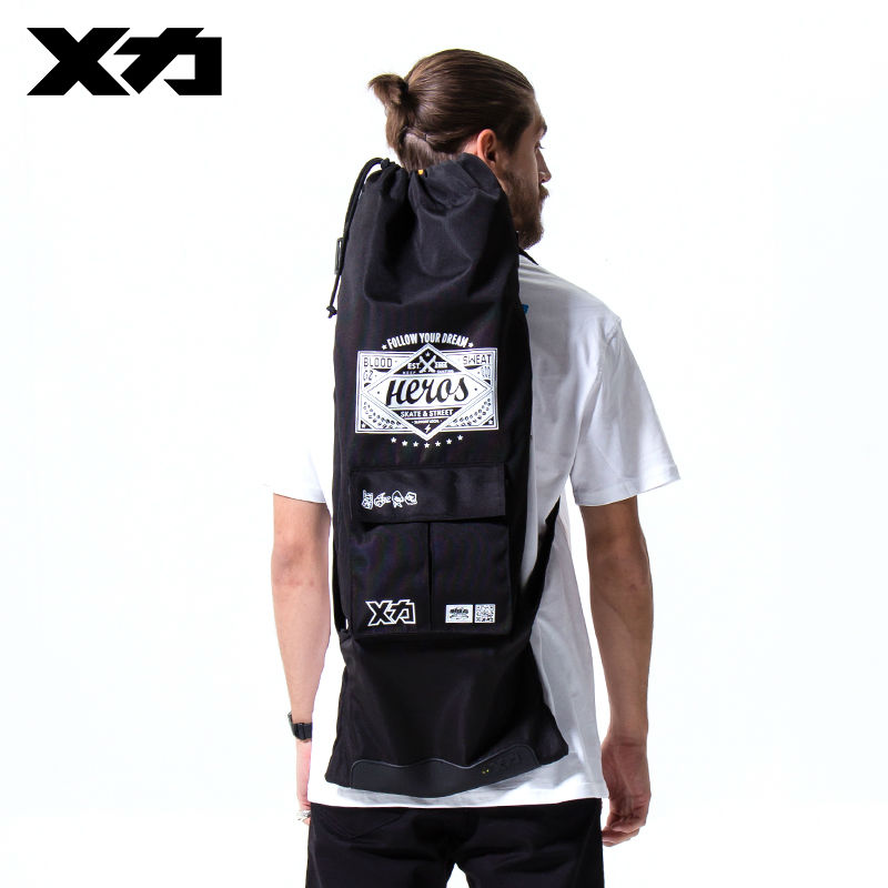MACKAR Heros Skateboard Backpack Bag 900D Oxford Cloth Skate Backpack Male  Black 85x33cm Drawstring Skateboard Carry Bags 6a73ee2521b