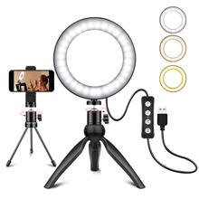 6 Ring Light Dimmable Led Selfie Light with Tripod Stand Cell Phone Holder for YouTube Lighting Make up Camera Photography Studi
