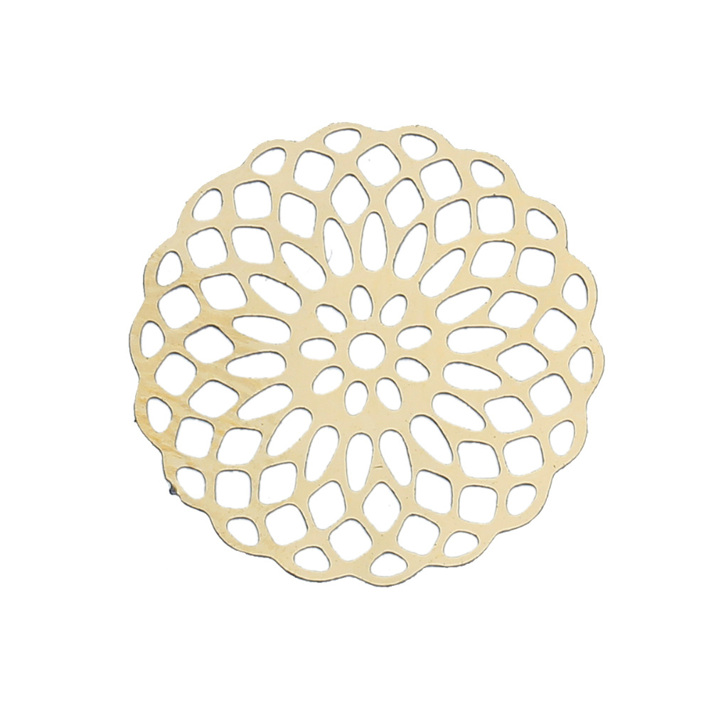 Stainless Steel Filigree Stamping Embellishments Scrapbooking Round Gold Plated Hollow 18mm( 68) x 18mm( 68), 10 PCs
