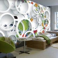 Benutzerdefinierte Modernen Minimalistischen Wandbild Fototapete Weiß Ring Zyklus Obst Wandbild Abstrakte Kunst Tapeten Schlafzimmer Wand-dekor