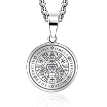 Abaicer Sigil Magic WICCA Seals Of The Seven Archangels Pendant Choker Statement Silver Stainless Steel Necklace Key Of Solomon(China)