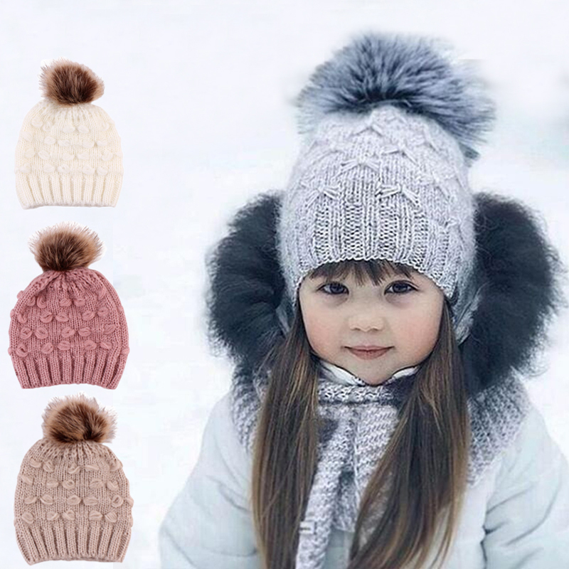 Autumn Winter Knitted Baby Hat Newborn Artificial Raccoon Fur Ball Baby Girl Cap Earflap Warm Bebe Bonnet With Hair Ball real rabbit fur hat female knitted hat knitted cat ears warm thick women cap autumn and winter fur hat