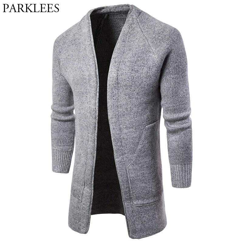 original en gros la clientèle d'abord Solid Color Men Long Cardigan Sweater 2018 Fashion Casual Mens Knitted  Cardigans Sweaters Pull Homme Big Pocket Slim Cardigan