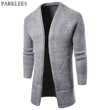 Solid Color Men Long Cardigan Sweater 2018 Fashion Casual Mens Knitted Cardigans Sweaters Pull Homme Big Pocket Slim Cardigan