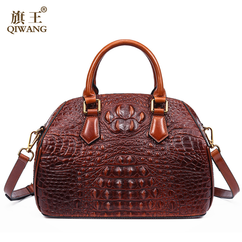 Qiwang Luxury Fashion Retro 100% Genuine Leather Women Shell Bag Brand Design Crocodile Pattern Cow Leather Handbag Sorrel crocodile retro women bag luxury women design fashion retro leather tote handbag solid bucket bag design fashion bags