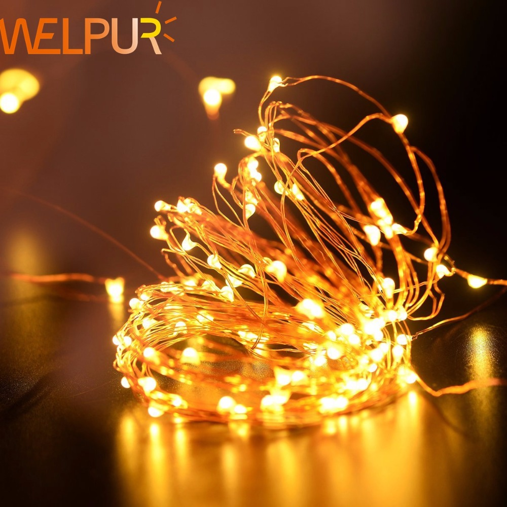 Holiday Lighting 4m 5m String Light  Copper Silver Wire Battery Fairy Christmas Garland Wedding Party Decoration Outdoor