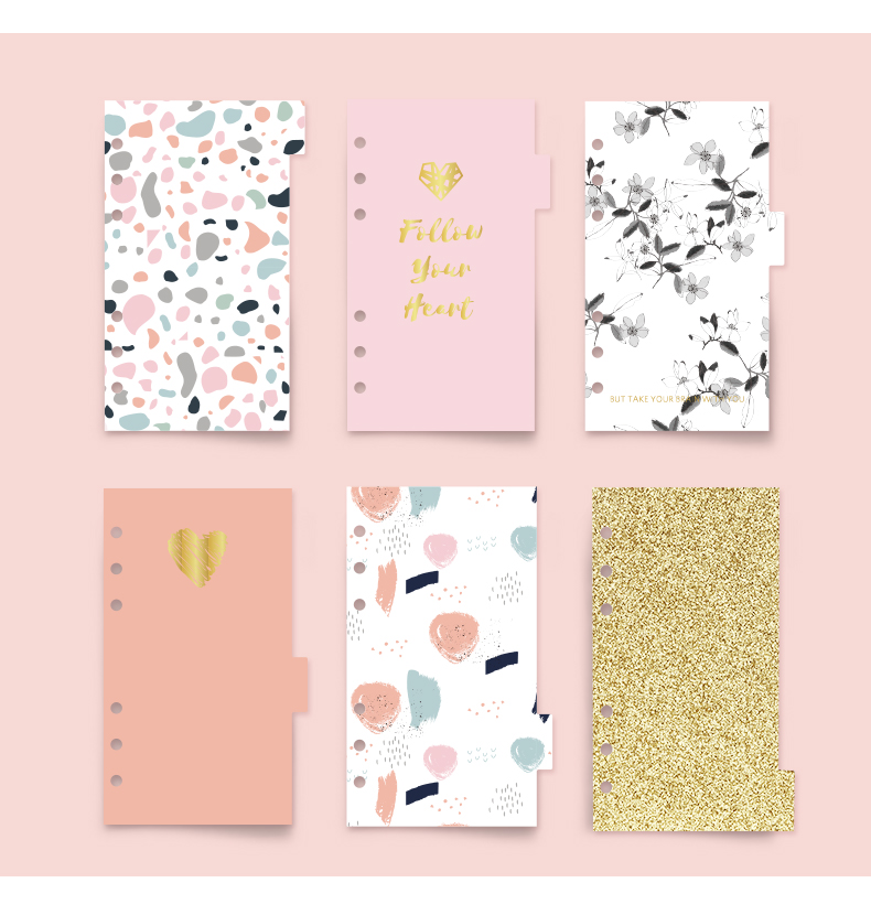 6pcs Never Pink Series Spiral Notebook Index Pages Cute A6 Planner Dividers For Lovedoki Dokibook Diary Inside Refill Stationery