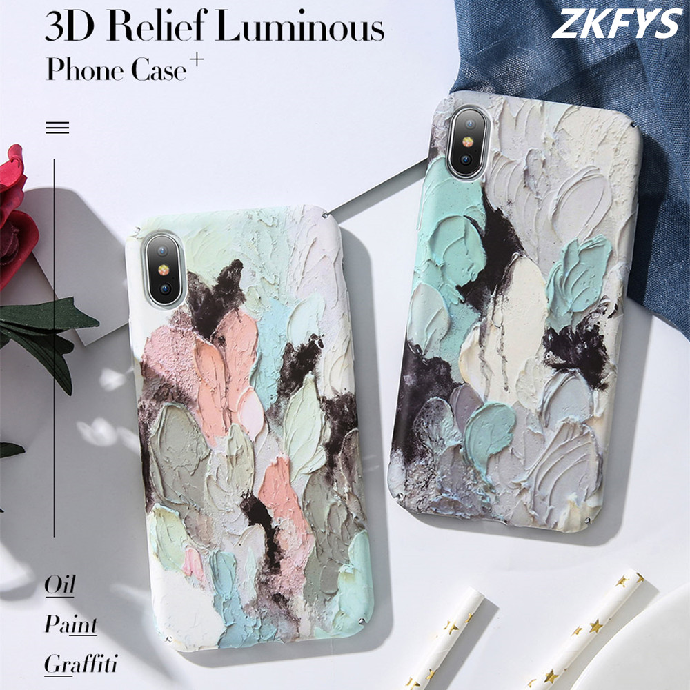 ZKFYS 3D Emboss Luminous Cases For iPhone 7 8 6 6s Plus Ultra Thin Hard PC Phone Case X XR XS Max Coque Fundas