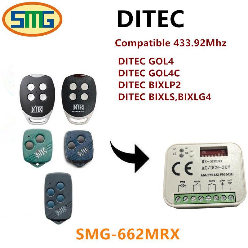 RX MULTI 300-900MHZ Ditec BIXLG4 BIXLP2 BIXLS2 GOL4 433.92MHZ Rolling code Remote control receiver swtich Free shipping