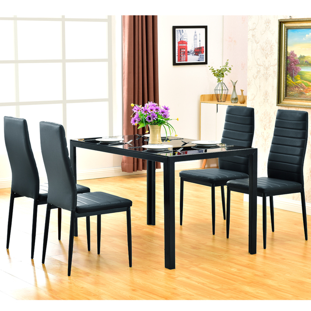 5 Piece Dining Table Set 4 Chairs  5