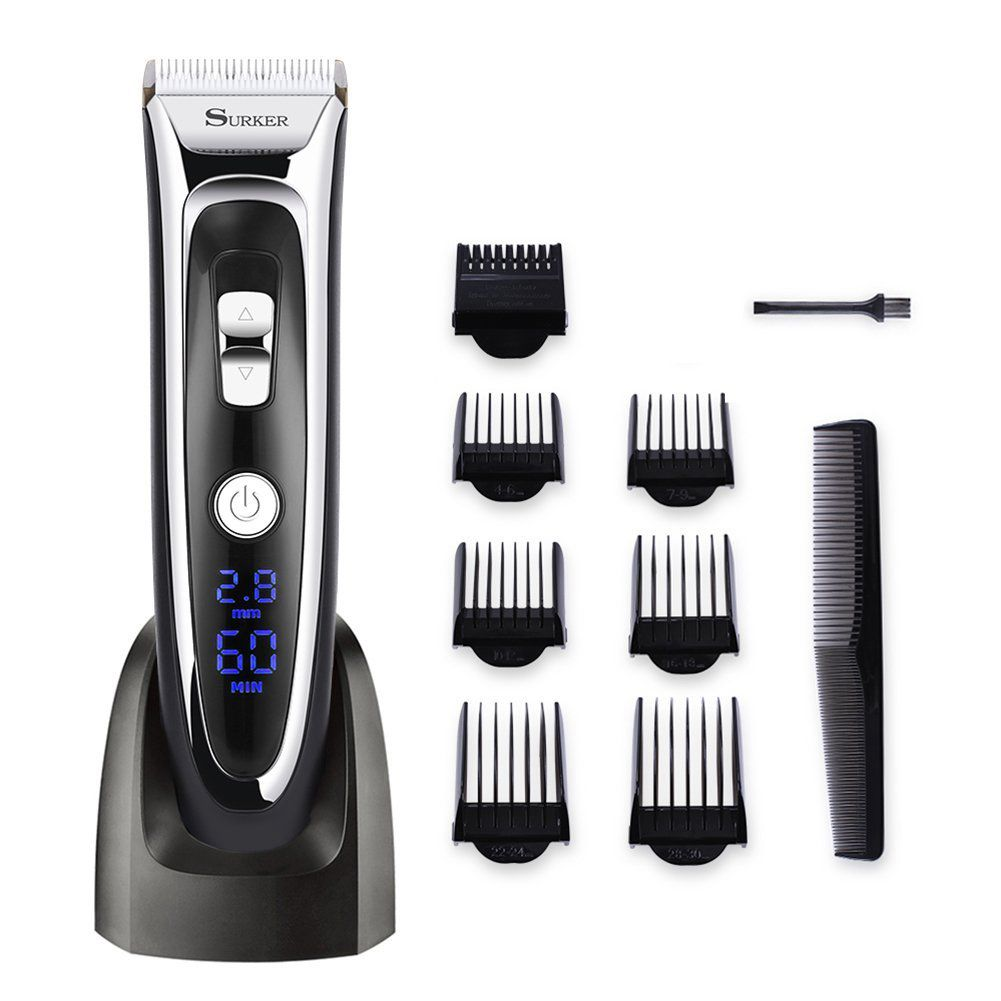 SURKER Model RFC-688B Electric Foil Hair Trimmer for Men with Clean & Charge Station, Electric Men's Women's Hair Clippers Cut surker model rfc 688b electric foil hair trimmer for men with clean