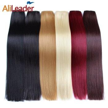 Alileader sintético Clip en el cabello africano americano extensiones de  cabello mujeres falsa pieza de cabello largo recto postizos 22 pulgadas 120G 0207b8d354d