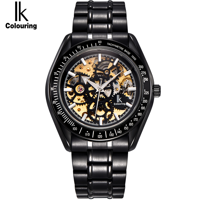 IK colouring Full Steel Luminous Automatic Mechanical Watches Men Brand Luxury Transparent Hollow Skeleton Military WatchIK colouring Full Steel Luminous Automatic Mechanical Watches Men Brand Luxury Transparent Hollow Skeleton Military Watch