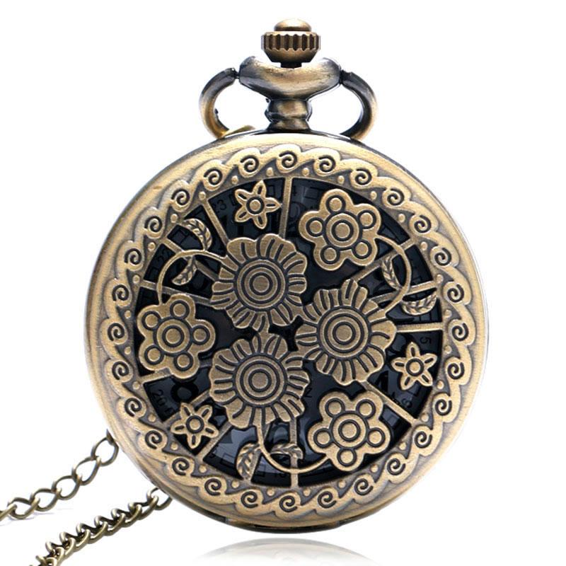 Vintage Bronze Blooming Flowers Hollow Pretty Quartz Pocket Watch Necklace Chain Women Ladies Girls Relogio De Bolso