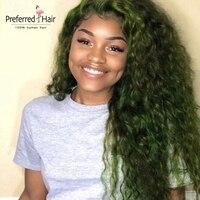 Предпочтительные вьющиеся человеческие волосы парик водорослей зеленый бразильский парик remy волосы кружева спереди человеческие волосы п
