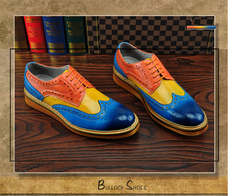Branded Design Men's Casual Patent Full Grain Leather Oxfords Shoes Lace-Up Full Brogues Shoes Pointed Toe Fashion Mixed Color (9)