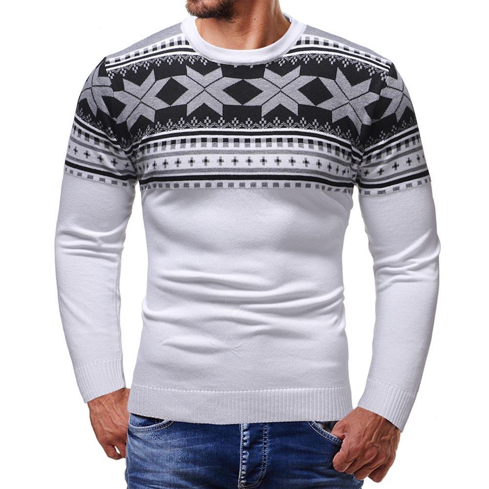 New Men Geometric Print Round Neck Long Sleeve Sweater Slim Fit Jumper Tops