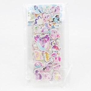 Image 2 - 6 יח\סט PVC פוני מדבקות הפוני הקטן שלי צעצועי חבילת ילדי ילדה נייל מדבקות 3D קשת דאש דמדומים Sparkle אדמונית עוגה