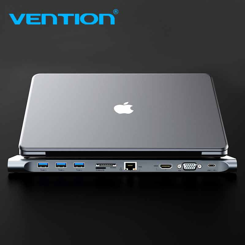 Vention All-in-1 USB C to HDMI VGA Converter USB 3.0 HUB SD/TF Card Reader 3.5mm Jack PD RJ45 Adapter For MacBook USB Type C HUB 7 in 1 usb c type c hub to hdmi sd tf card reader usb 3 0 rj45 pd charging adapter for macbook samsung galaxy usb c hub
