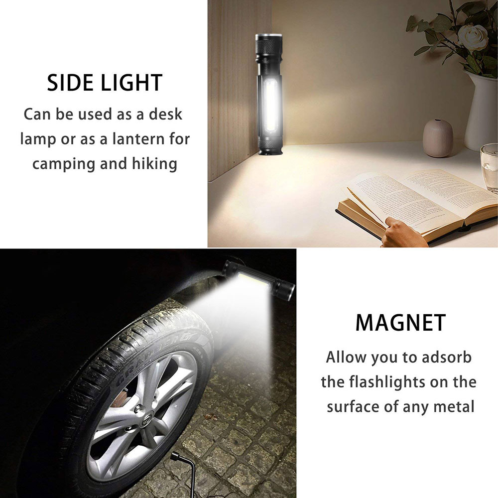 Image 3 - Multifunctional LED Flashlight USB Rechargeable battery Powerful T6 torch Side COB Light design Flashlight tail magnet WorkLight-in LED Flashlights from Lights & Lighting