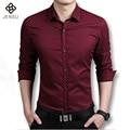 Caliente de La Manera de Los Hombres Camisas de Manga Larga de Los Hombres Ocasionales Adelgazan las Camisas de Vestido de Algodón Camisa de La Manera Para Los Hombres Más El Tamaño M-5XL