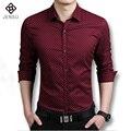 Hot Moda Homens Camisas de Manga Comprida Casual Slim Fit Camisas de Vestido dos homens Camisa de Algodão de Moda Para Homens Plus Size M-5XL
