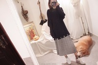 KYQIAO Plaid Skirt Mori Girls Autumn Winter Japanese Style Vintage Design Fresh Long Grey Plaid Pleated