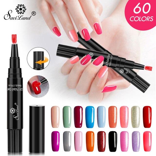 Saviland NEUE 60 Farben Nagellack Stift 3 In 1 Gel Nagellack Stift Glitter Einen Schritt Gel Einfach Nagel zu Verwenden UV Nagel Gel Stift
