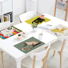 Personality Creative 42x32cm Wallpaper Cat Goldfish Kitchen Restaurant Dorm Decoration Napkin Linen Western Style Pad Table Flag(China)